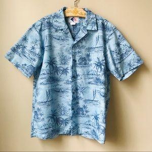 98dceabe Vintage Hawaiian Shirt Nui Nalu Men's Size M Blue
